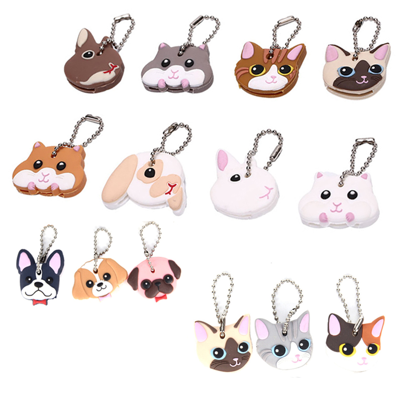 1 Pc Silicone Key Ring Cap Head Cover Keychain Case Shell Cat  Dog Animals Shape Lovely Jewelry Gift