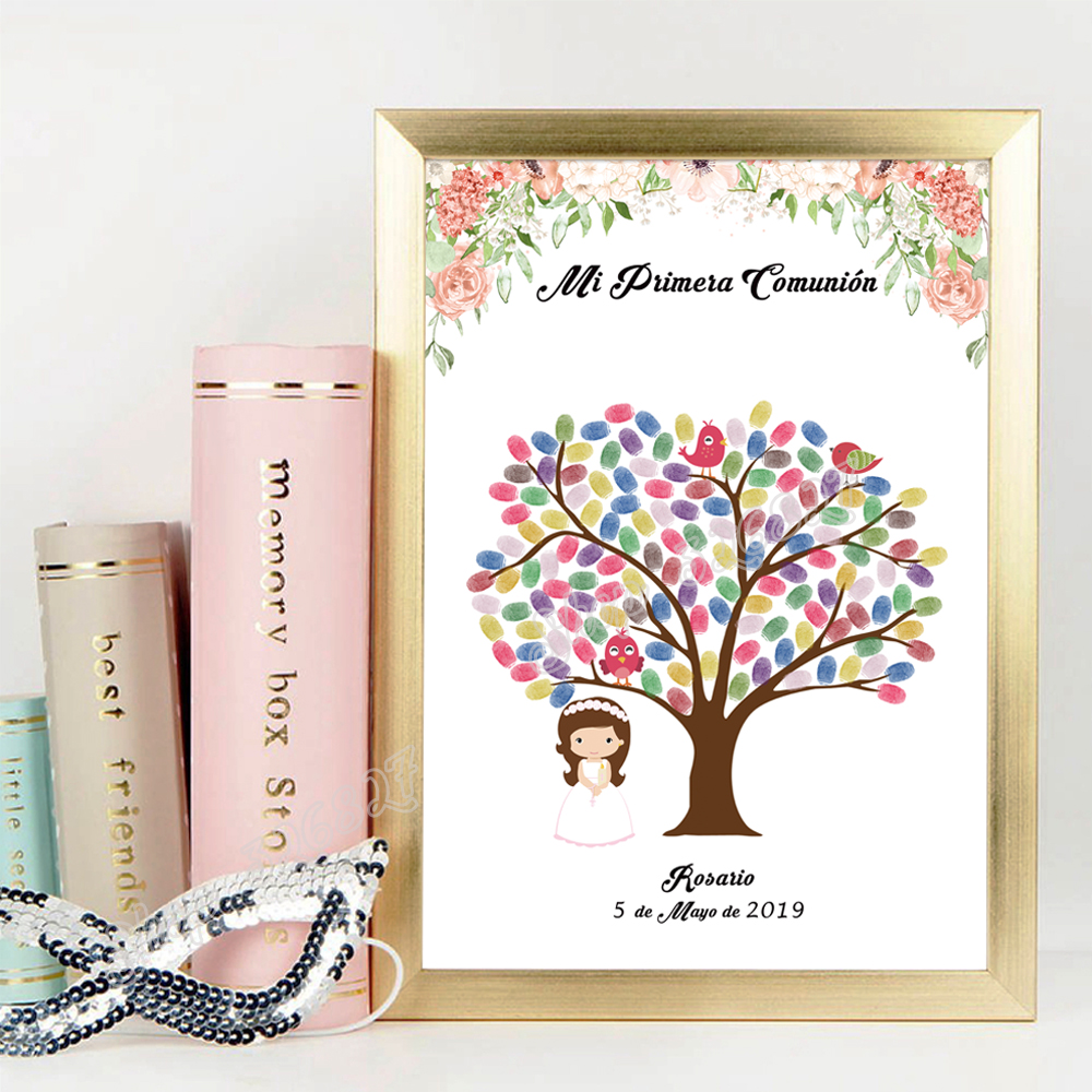 Personalized Mi Primera Comunion DIY Fingerprint Signature Guest Book Boys Girls First Communion Souvenir Ink Pad Included
