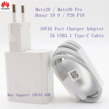 Original HUAWEI Mate 20 10V4A cargador rápido supercargador 40w carga para P10 P20 Mate9 10 Pro Honor note10 USB3.1 tipo C DASHCable(China)