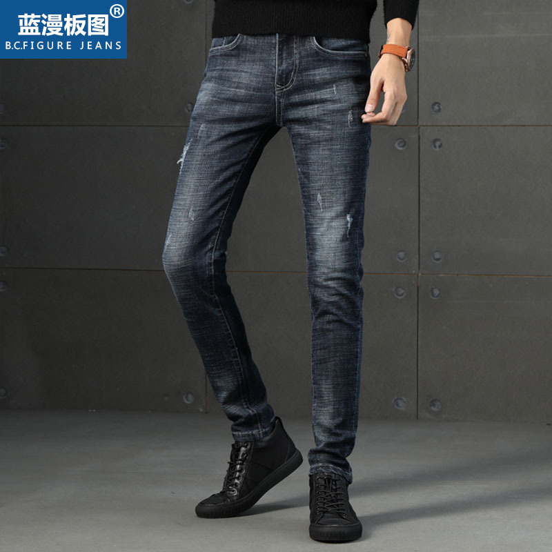 2019 Autumn New Style Jeans Men's Trend Of Fashion MEN'S Jeans Youth Medium Waist Casual Versatile Trousers