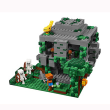 DECOOL Minecraft The Jungle Temple Steve skeleton ocelot LegoINGly 827 DIY Model Building Block Set Kids Brick Toy festival gift hotsale minecraft game cardboard enderman creeper steve mask baby party cosplay cardboard steve heads mask toy for kids gift