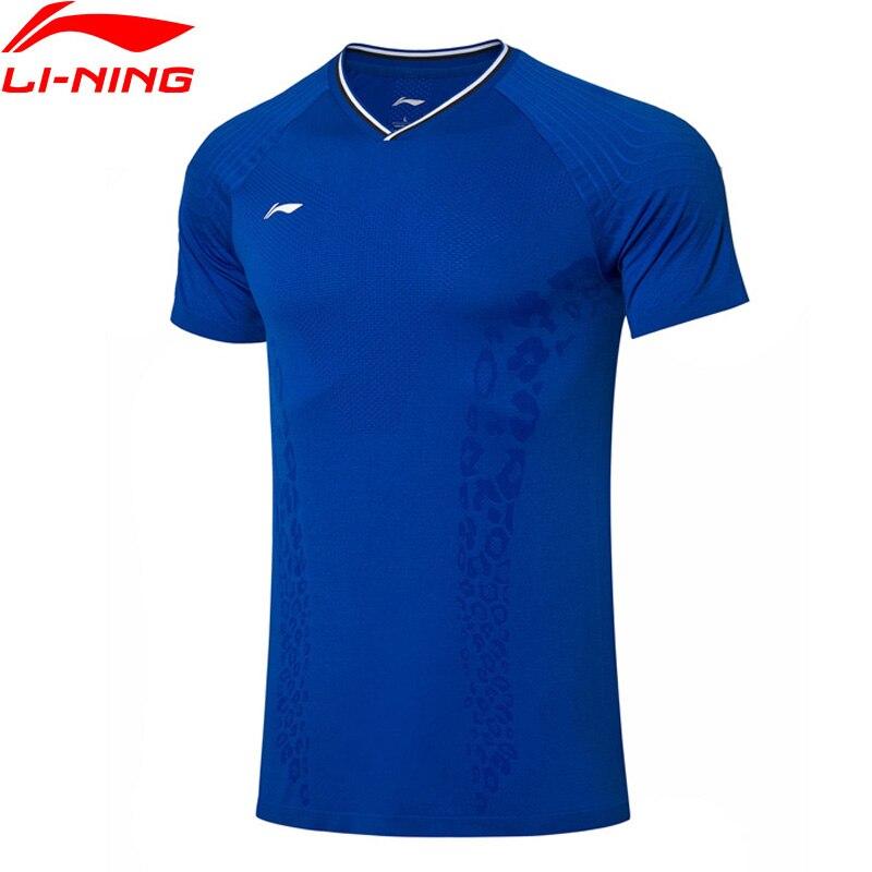 Li-ning hommes Badminton compétition haut respirant T-Shirts à sec Slim Fit Nylon Polyester doublure sport Tee AAYP279 MTS3144