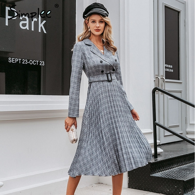 Simplee Vintage pleated belt plaid dress women Elegant office ladies blazer dresses Long sleeve female autumn midi party dress 4