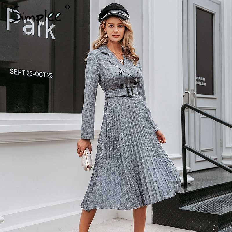 Simplee Vintage plisowana sukienka w kratę damska elegancka biurowa, damska marynarka sukienki z długim rękawem kobieca jesienna sukienka midi