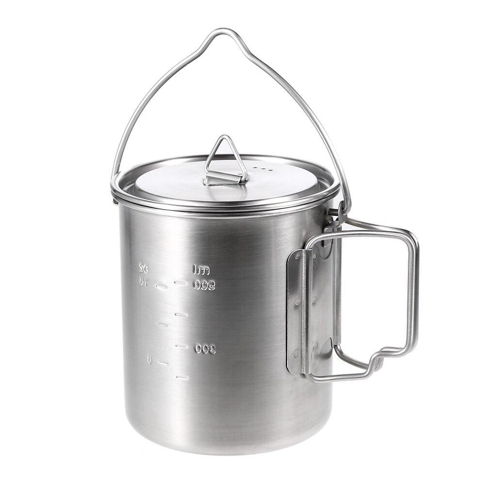 Lixada 750 мл горшок из нержавеющей стали, портативная чашка для воды, кружка с крышкой, складная ручка, походная посуда для пикника|Столовые приборы для пикника|   | АлиЭкспресс - Чай вдвоем