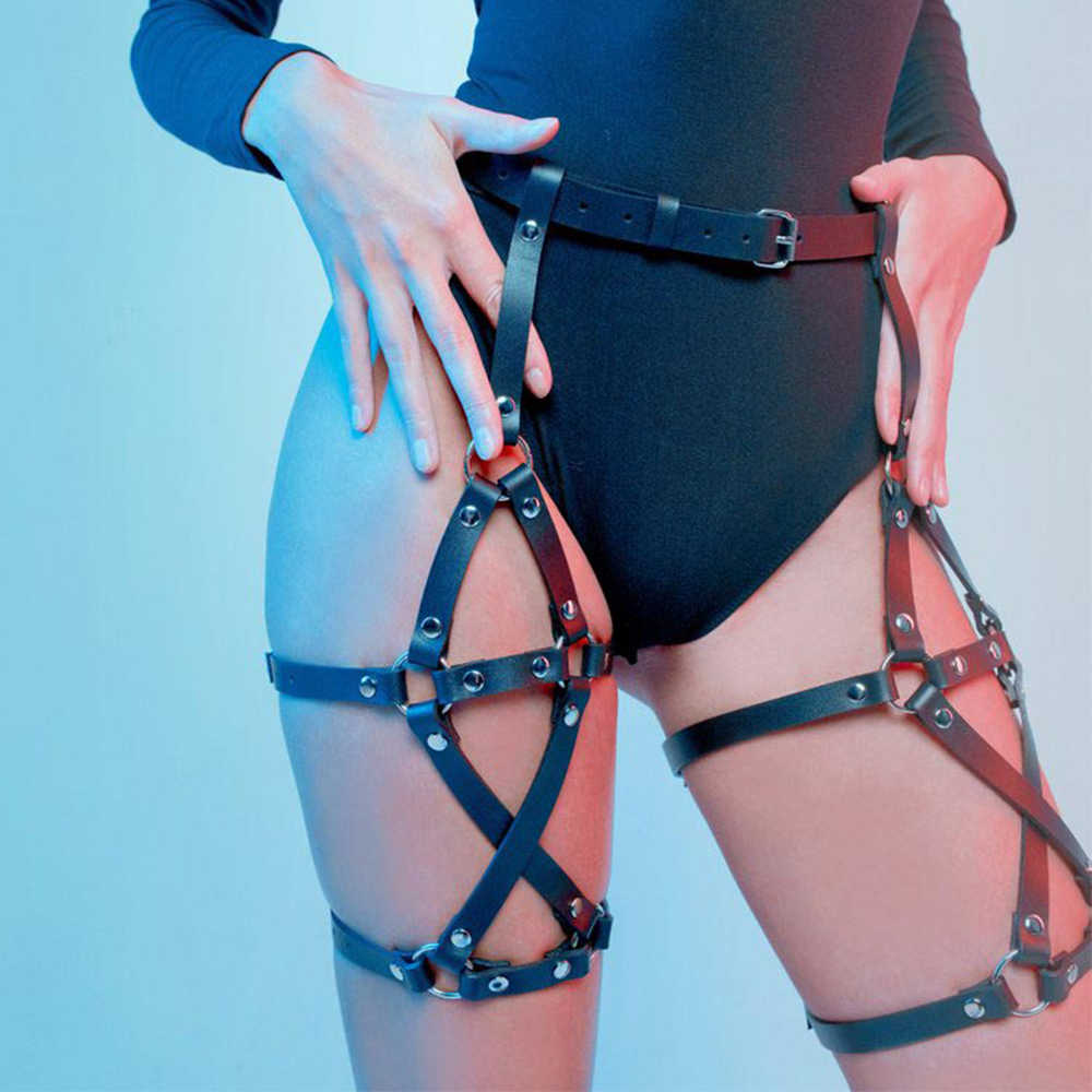 Punk Harajuku Pu Leather Harness Garter BDSM Belt Women Black Leg Bondage Lingerie Stocking Suspenders Thigh Goth Lovely Xun