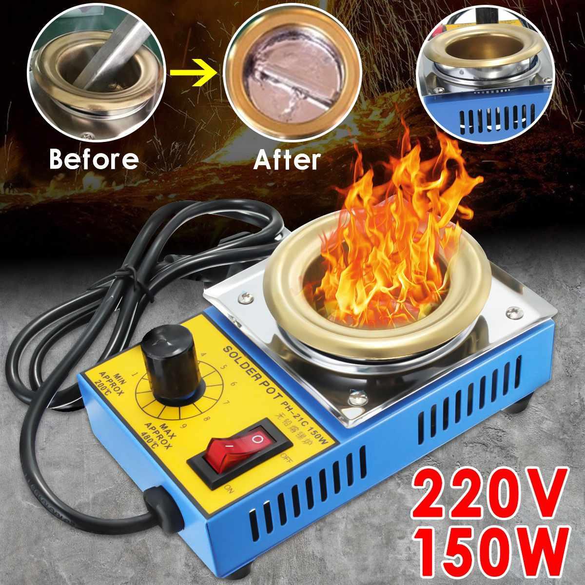 NEW 220V 150W 50mm Soldering Desoldering Stainless Steel Plate Solder Pot Desoldering Bath 200-480°C