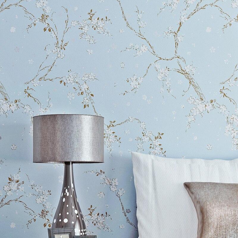 Papier peint Vintage chinois fleurs décoration papier peint bleu gris rouleau pour salon chambre murs papier de Contact Papel Tapiz
