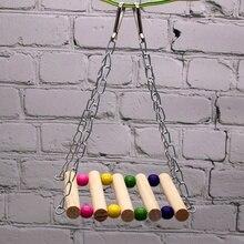Попугай подвесной мост креативный деревянный попугай игрушка красочная веревочная лестница Parakeet клетка аксессуары