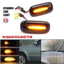 Luces LED del coche dinámica señales de giro lámpara indicador lateral indicador para Audi A3 S3 8L 2000 2003 A8 D2 1999 2002 TT 8N 2000 2006