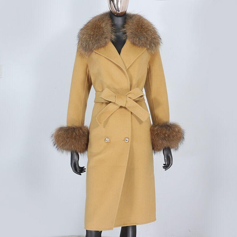 H8489eea849bd4df7862b166e53290697v 2021X-Long Natural Mongolia Sheep Real Fur Coat Autumn Winter Jacket Women Double Breasted Belt Wool Blends Overcoat Streetwea