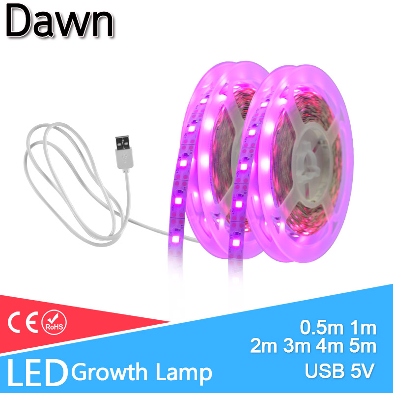 LED Grow Light LED Strip 1m 3m 4m 5m Full Spectrum USB 5V Chip SMD 2835 LED Phyto Lamp For Greenhouse Hydroponic Plant Growing