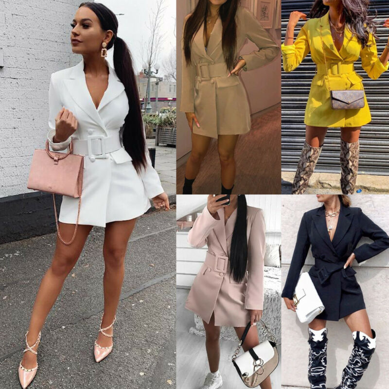 Fashion Autumn Korean Womens Blazer Belt Solid Long Sleeve Slim Bodycon Lapel Blazer Double Breasted Casual Tops 2019 New Hot
