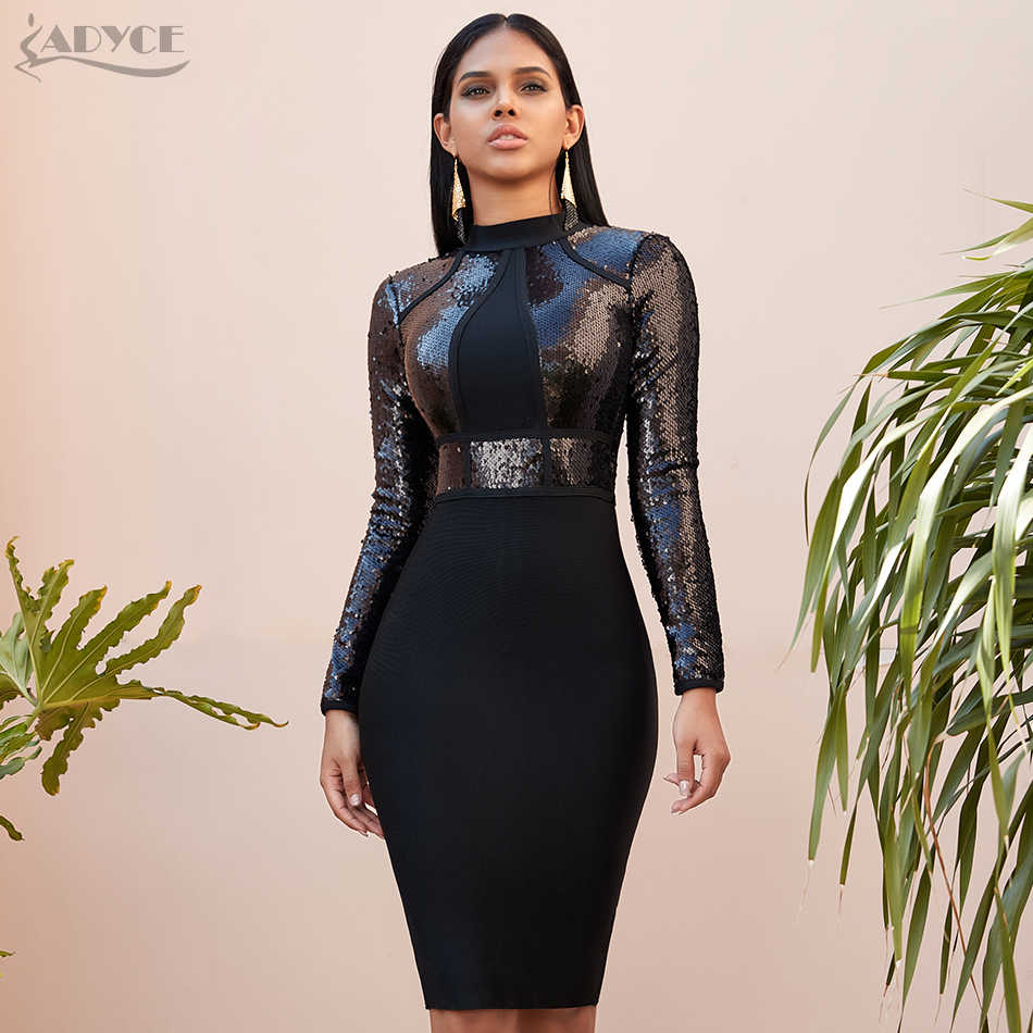 Adyce 2020 Nieuwe Winter Lovertjes Lange Mouwen Bandage Jurk Sexy Bodycon Club Black Celebrity Avond Runway Party Jurken Vestidos