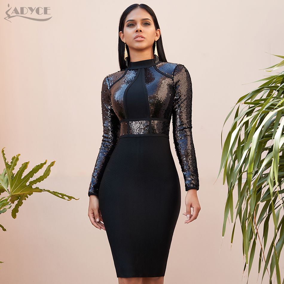 Adyce 2019 New Winter Sequined Long Sleeve Bandage Dress Sexy Bodycon Club Black Celebrity Evening Runway Party Dresses Vestidos