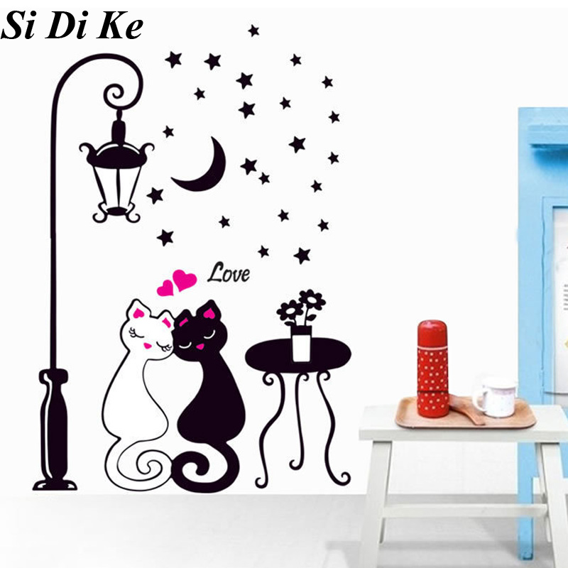 Decorative Wall Sticker Black And White Couple Cat Wall Sticker Street Lamp Wall Sticker Bedroom Marriage Room Living Sticker