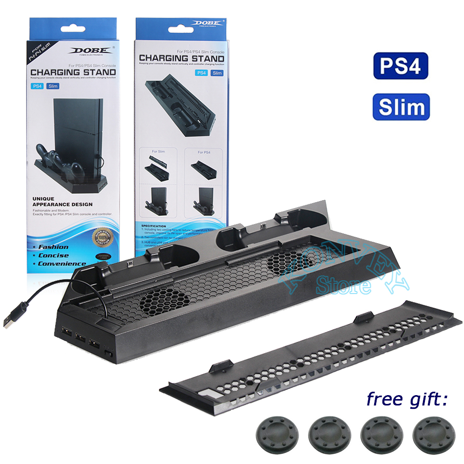 Multifunction Vertical Cooling Fan Stand Dual Gamepad Controller Charging Dock Station For Sony PS4 / PS4 Slim