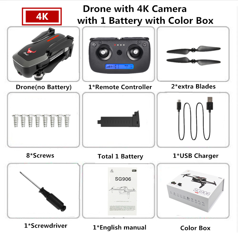 SG906 PRO GPS Drone 4K Camera with Two-axis anti-shake universal joint and Quadcopter SG906 with 4K Camera