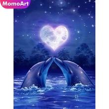 MomoArt DIY Diamond Painting Romantic Dolphin Love Heart Moon Sea Embroidery Mosaic Full Complete Kit