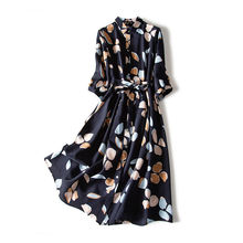 Large size chiffon printed dress female retro 2021 new waist three-quarter sleeve shirt dress loose body covering bohemian dress