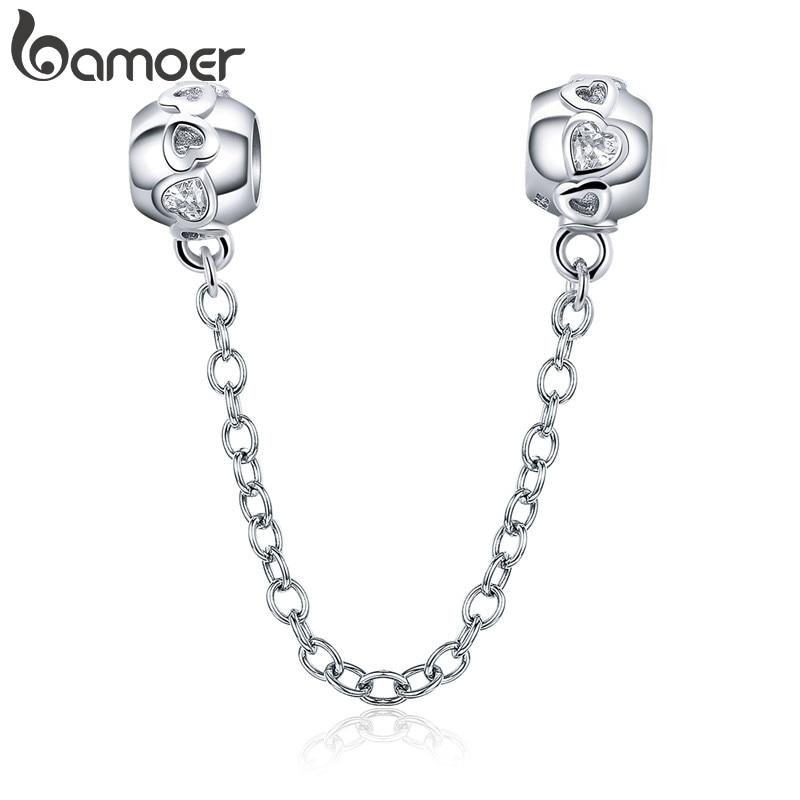 Sicherheitskette mit Zirkonia-Herzen fürs Bettelarmband   925 Beads & Charms 925 Charm Armbänder und Zubehör