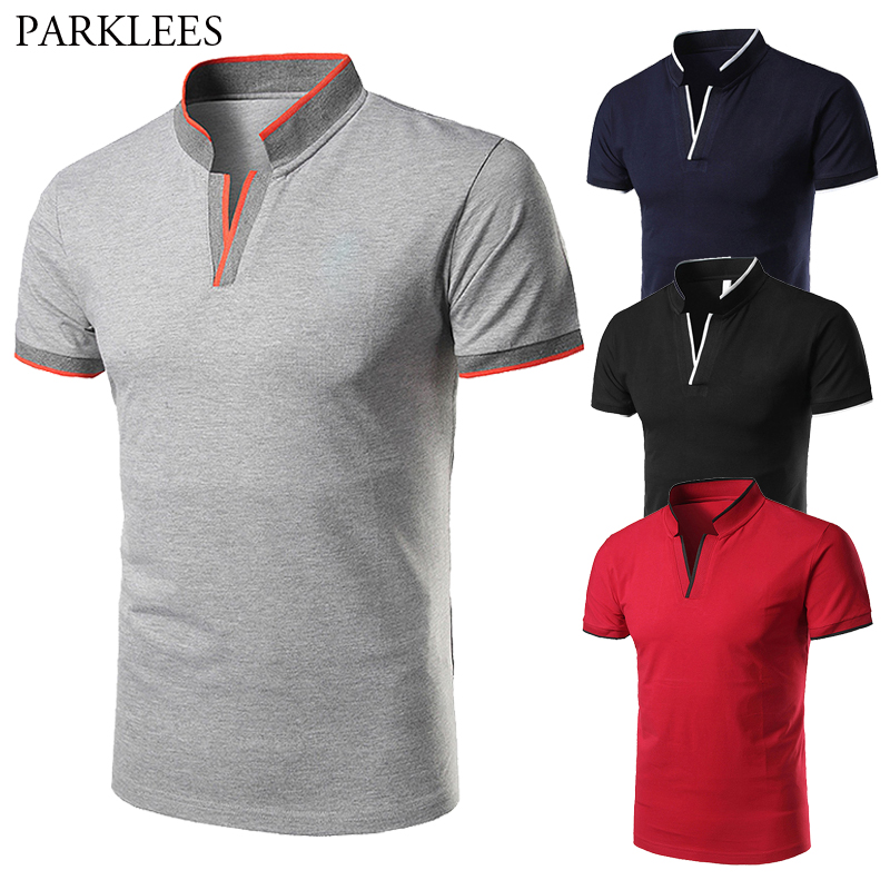 Stand Collar Polo Shirt Mens Fashion Splice Men Polo Shirt Brands Casual Slim Fit Polo Shirts Men Clothing Polos Para Hombre 2XL