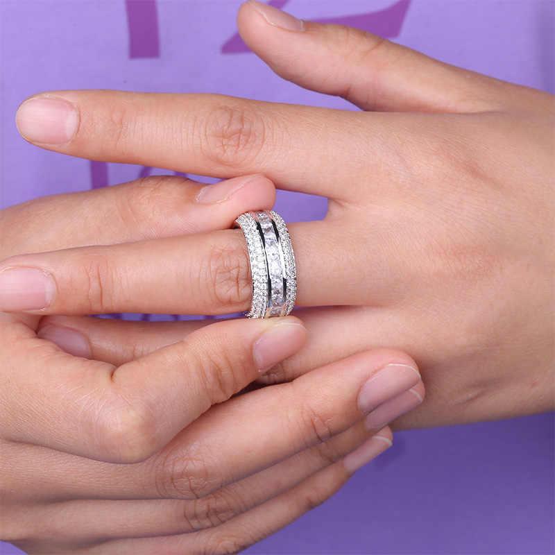TOPGRILLZ Baguette Zircon แหวนผู้ชายวัสดุทองแดง Charm เงิน AAA Cubic Zircon เย็นแหวนแฟชั่น Hip Hop เครื่องประดับ