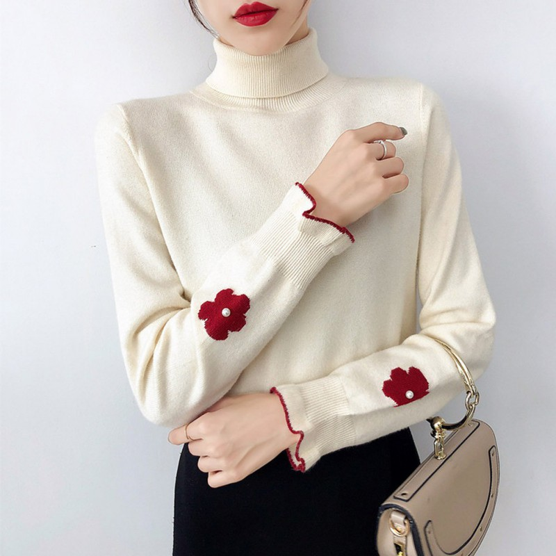 2019 Autumn Winter Turtleneck Pearl Flower Sweater Ruffled Long-sleeved Knitted Pullover Tops For Women