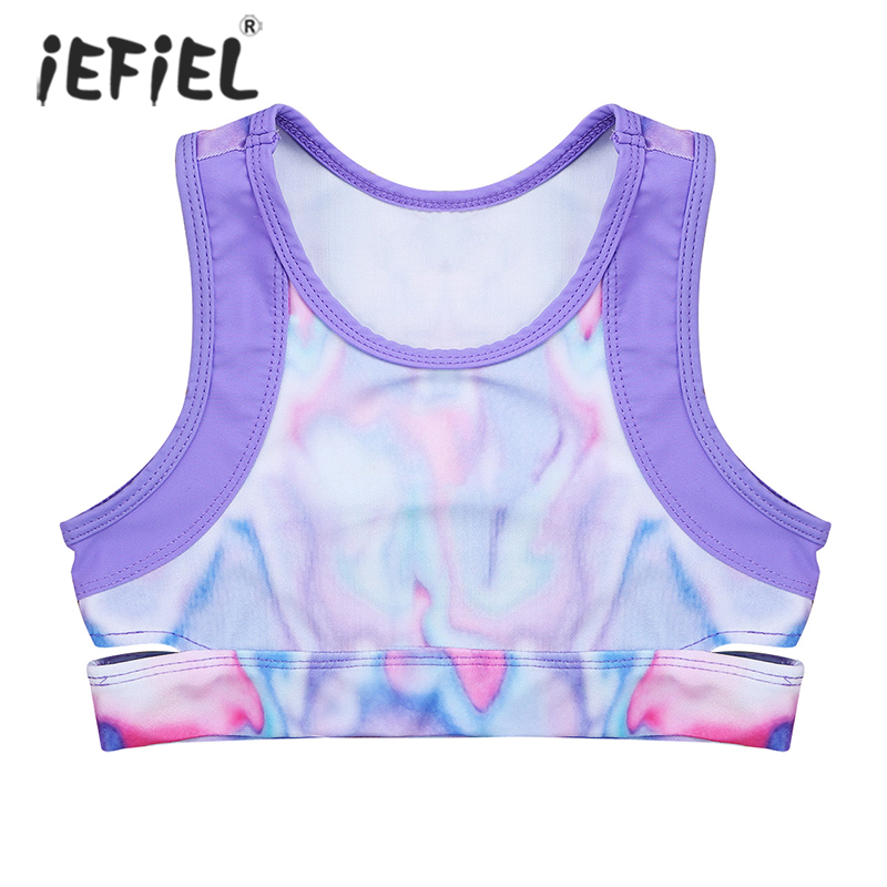 Kid Girls Ballet Dance Tanks Crop Top Kid Stretchy Sleeveless Tie-Dye Sports Bra Tops Yoga Gym Stage Performance Workout Clothes