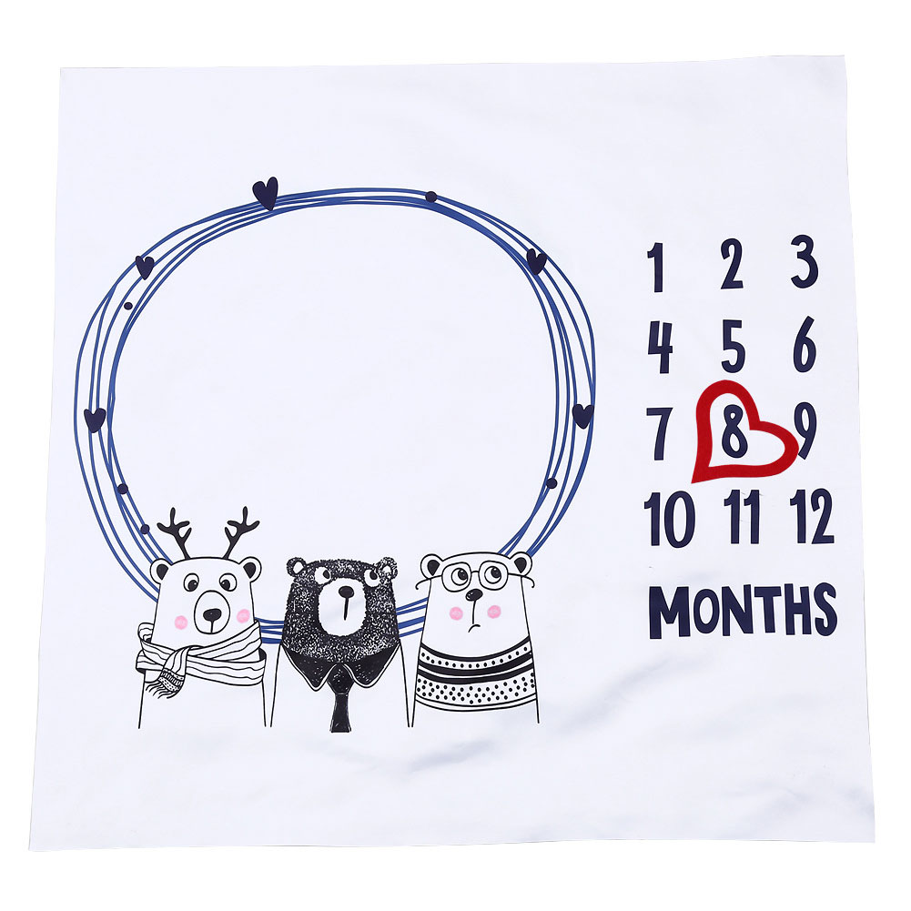 Tiere Druck Baby Milestone Decken Neugeborenen 12 Monate Wachstum Hintergrund Foto Requisiten Infant Spielen Matten Hintergrund Tuch
