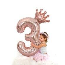 Balões de aniversário de 3 anos 1st aniversário ballon coroa número baloon rosa folha de ouro balon feliz aniversário decoração crianças meninas 40 polegada