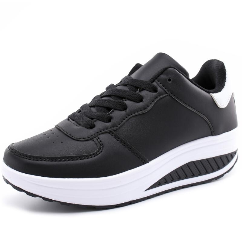 Women Breathable Toning Shoes Platform Wedge Fitness Slimming Shoes Spring Autumn Lace Up Breathable Swing Sneakers