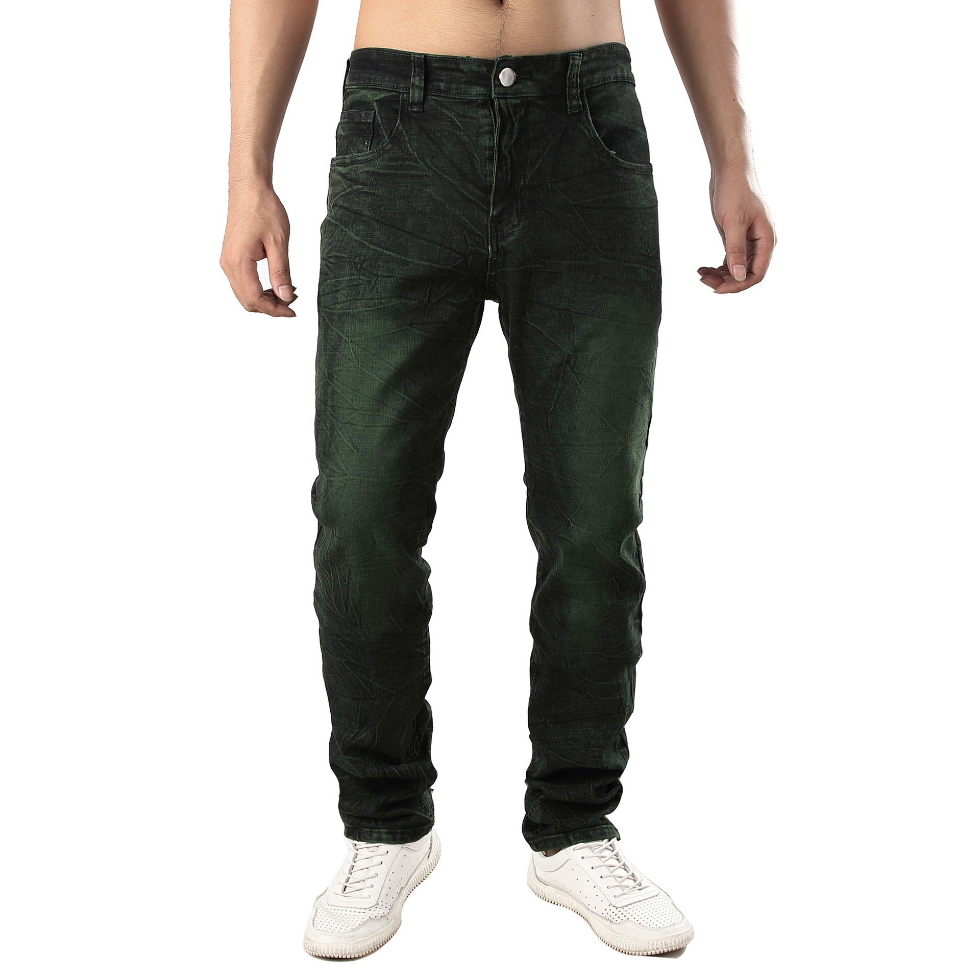 2019 Hot Selling Cowboy Trousers Men Elasticity Slim Fit Jeans Dyeing Gray-green Cool Cowboy