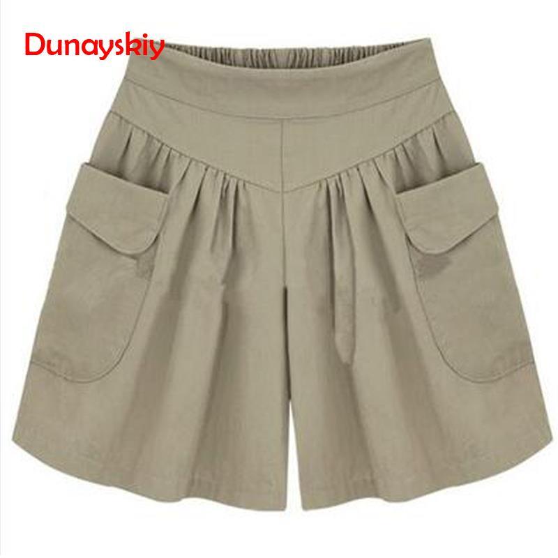 Summer Loose Casual Shorts Women Plus Size High Waist Shorts Fashion Skirt Shorts Beach Large Size Shorts For Women