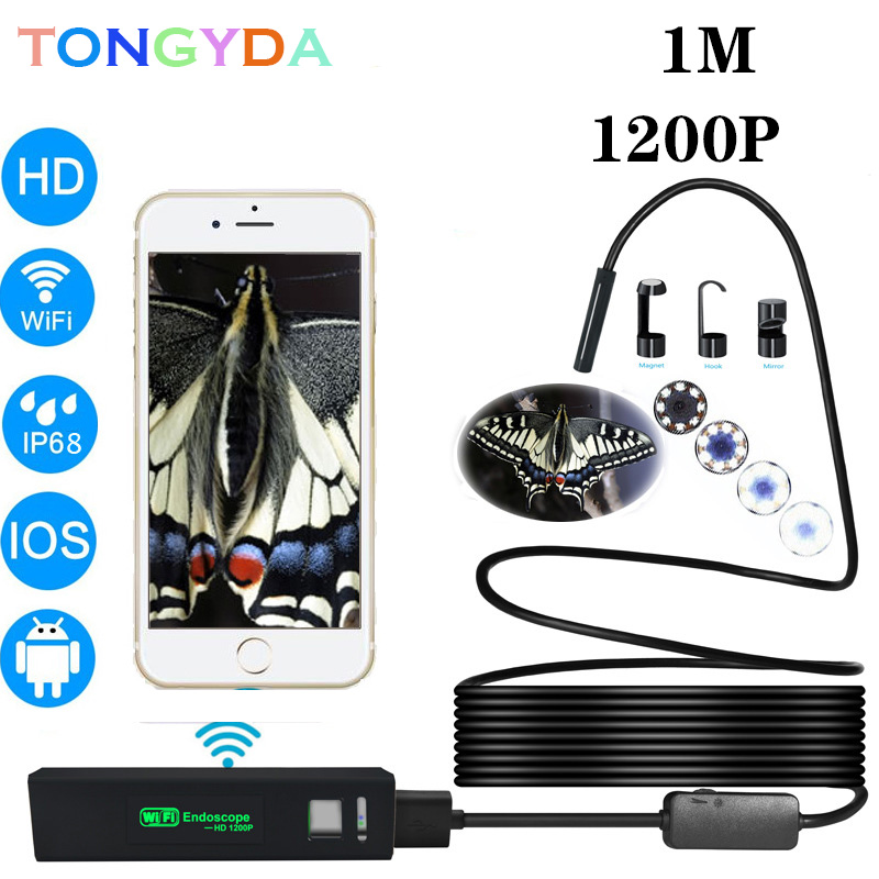 Wireless WIFI <font><b>Endoscope</b></font> Camera USB <font><b>1200P</b></font> Borescope For Iphone Android IOS <font><b>Endoscope</b></font> Mini Waterproof Camera 8MM 2M 5M <font><b>10M</b></font> Hard image