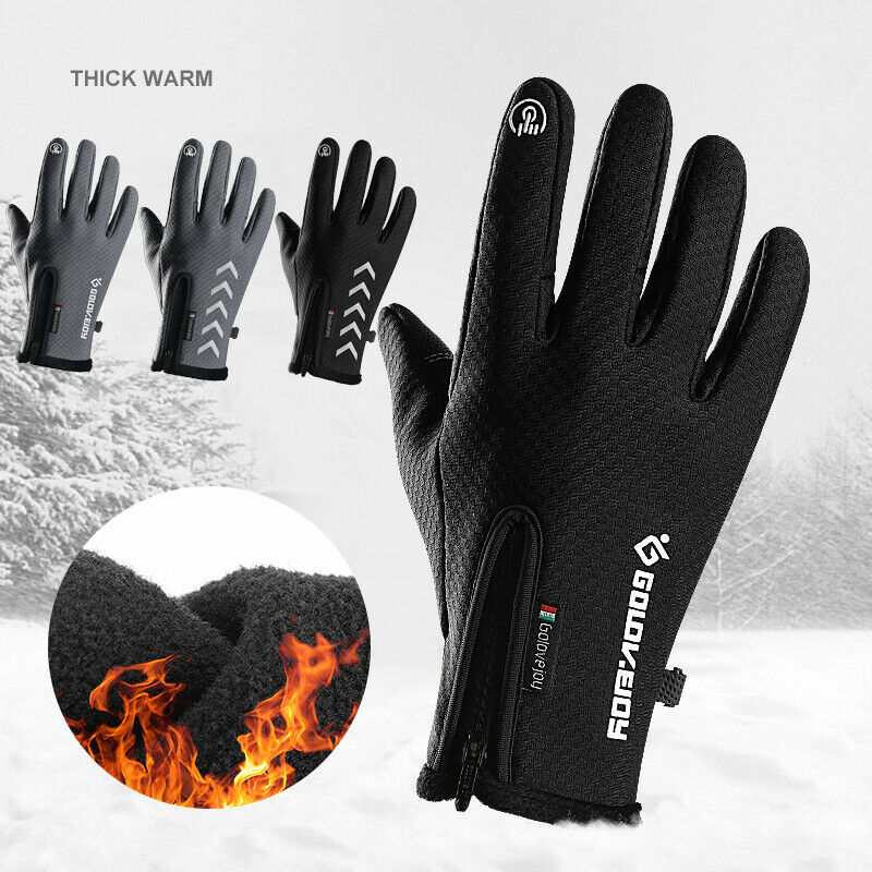 Winter Thick Warm Men's Wrist Gloves Black Touchscreen Windproof Waterproof Thermal Gloves For Men Fashion Brand Mittens Men