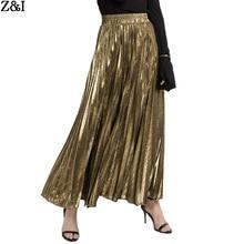 Весна и лето стиль плиссированные юбки длинные Европа и Америка Большой размер Высокая талия большой Hemline золото