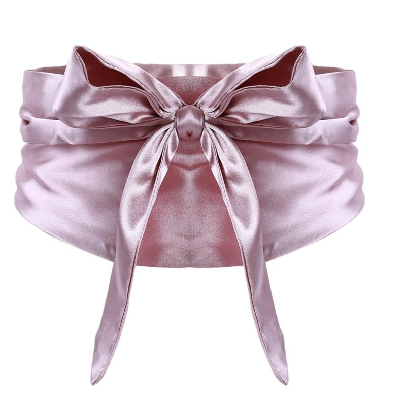 Silk Ribbon Pure Color Dress Decoration Elegant Lady Bow Knot Slimming Belt Wide Waistband Corset Tie Belt Femme