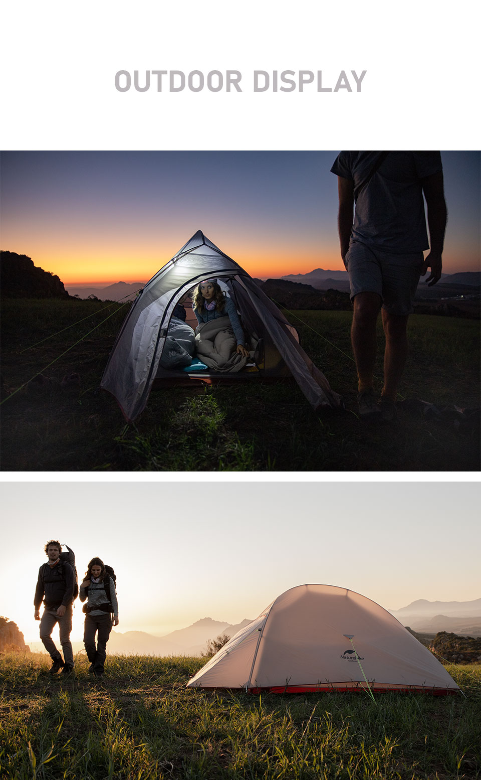 Ultralight Tent Free Standing 20D Fabric Camping Tents For 2 Person With free Mat