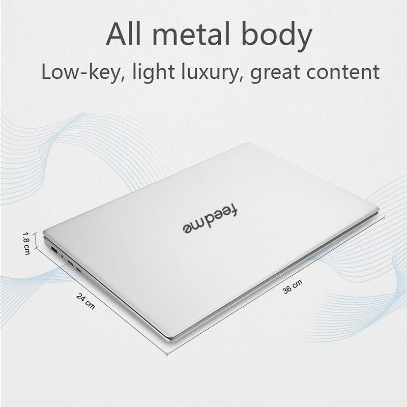 feed me 15.6 inch Intel Core i3 Laptop Windows10 8G RAM 128/256/512GB SSD Notebook Narrow Border Screen ultrabook Fingerprint