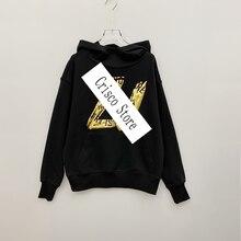 Fashion Hoodies Sweatshirts Gold-Letters Long-Sleeve Printing Cotton Women New