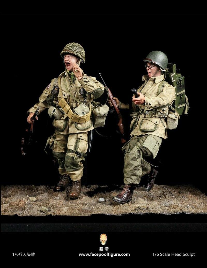 Model Toy PVC For Figure Doll 1:6 Male Sculpt Man Head Word War II Officer 2in