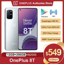 Oneplus 8 T 8 T 5G 12GB 256GB 5G SmartPhone 120Hz płynny wyświetlacz AMOLED Snapdragon 865 65W osnowy ładunek jeden plus 8 T telefon komórkowy