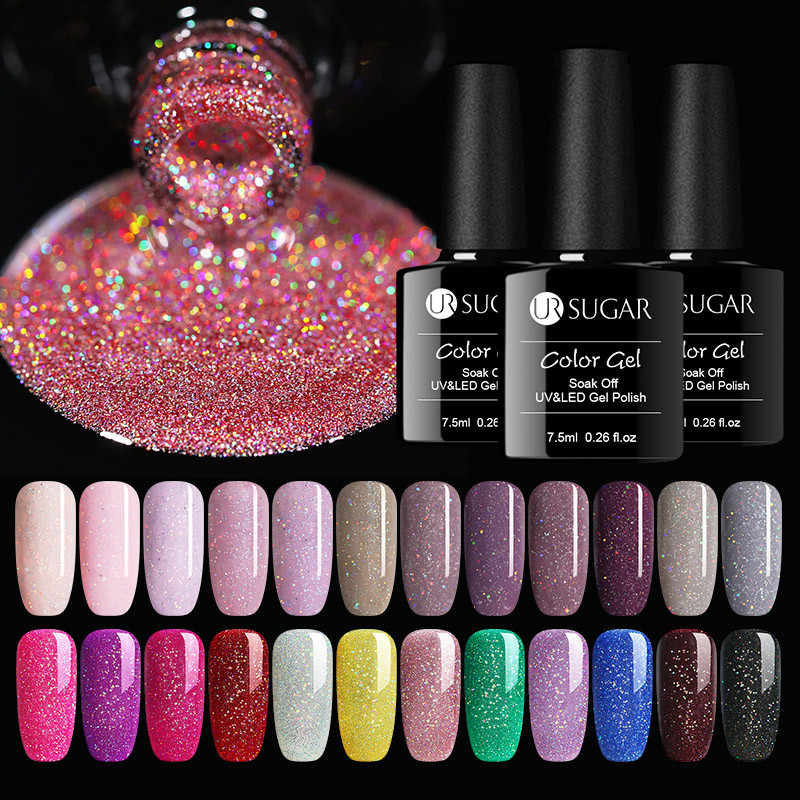 UR SUGAR 7.5ml Rainbow Holographic เล็บ Neon Shimmer Shining Glitter Soak-Off UV LED เจล -ยาวนานเคลือบเงา