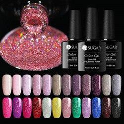 Ur açúcar 7.5ml arco-íris gel holográfico unha polonês neon brilho brilhante embeber-fora uv led verniz laca de longa duração