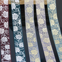 (10 yards/roll) 25mm printed hot stamping  flower organza ribbon colored gift wrap decoration ribbons lace