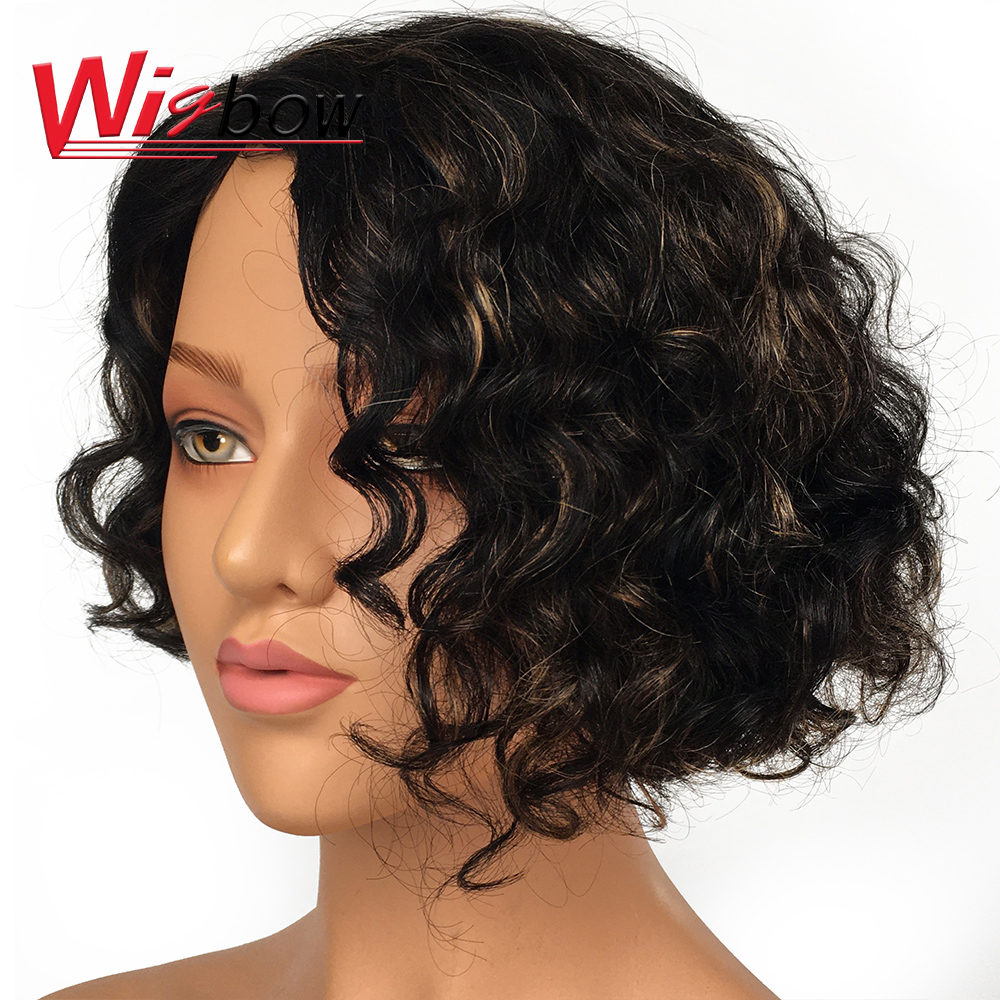 100% Human Hair Wigs Short Lace Deep Wave Wigs For Women  Remy Peruvian Hair 1B T1B/30 T1B/BG P1B/30 Free Shipping Wigbow