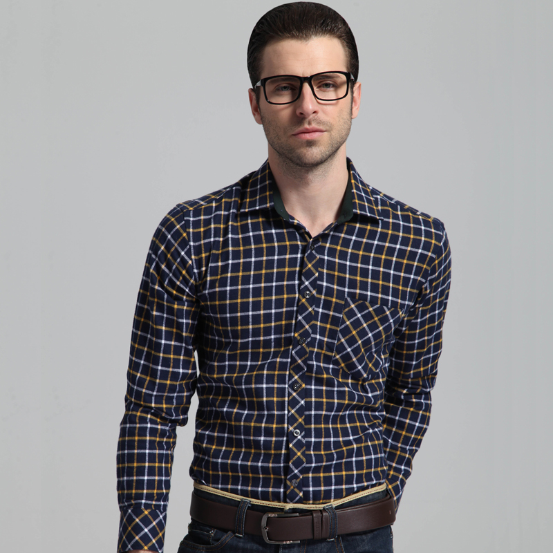 Men's Long Sleeve Brushed Plaid Checkered Shirt Single Patch Pocket Cotton Casual Regular-fit Thick Flannel Gingham Shirts