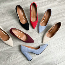 Pumps Women Shoes Chunky-Heel-Shoes Burgundy Classic Pointed-Toe Female Blue Black Plus-Size