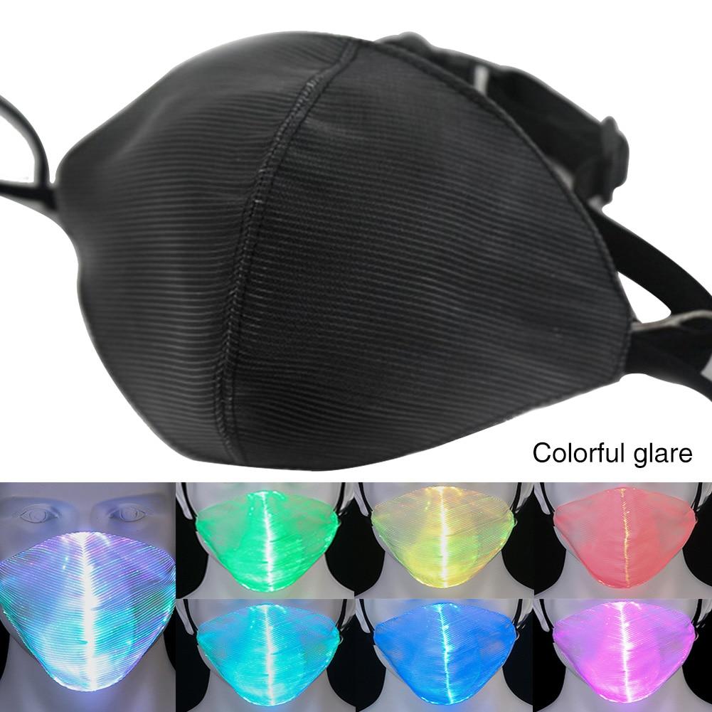 7 Colors Luminous Mouth Mask LED Waterproof Flashing Optical Fiber Rave Safe USB Charging Halloween Christmas Party Mask Gift